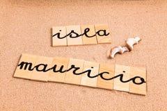 Ord på sandislaen mauricio Fotografering för Bildbyråer