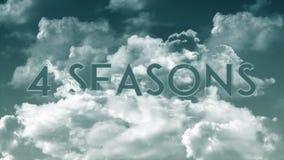Ord 4 SÄSONGER i molnen som är mörka - gråa himmelfärger stock illustrationer