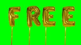 Ord som är fritt från guld- ballongbokstäver för helium som svävar på den gröna skärmen - lager videofilmer