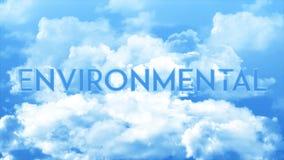 Ord som ÄR MILJÖ- i molnen, färger för blå himmel stock illustrationer