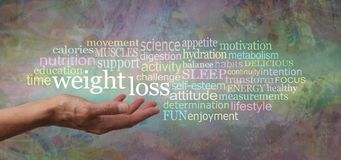 Ord som förbinds med molnet för etikett för viktförlust arkivbild
