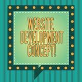 Ord som skriver begrepp för textWebsiteutveckling Affärsidé för framkallning av en webbplats för det fyrkantiga anförandet för in stock illustrationer