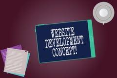 Ord som skriver begrepp för textWebsiteutveckling Affärsidé för framkallning av en webbplats för koppen för skärm för internetmin royaltyfri illustrationer