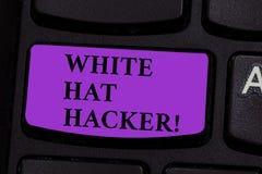 Ord som skriver den textWhite Hat en hacker Affärsidé för sakkunnig specialist för datorsäkerhet i genomträngningsprovning royaltyfria foton