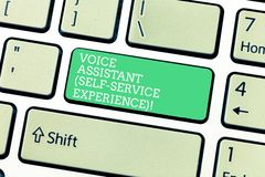 Ord som skriver erfarenhet för service för själv för textstämmaassistent Affärsidé för pratstundbot för konstgjord intelligens royaltyfria foton