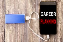 Ord som skriver karriärplanläggning Affärsidé för affärstillväxtmålet som ställer in som är skriftligt på mobil mobiltelefonmobil Royaltyfria Foton