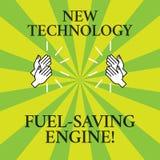 Ord som skriver motorn för besparing för textny teknikbränsle Affärsidé för moderna teknologier för att dra för bilar av stock illustrationer