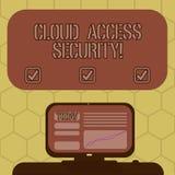 Ord som skriver säkerhet för textmolntillträde Affärsidé för att skydda cloudbased system, data och infrastruktur royaltyfri illustrationer