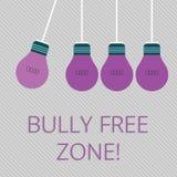 Ord som skriver textöversittare fri zon Affärsidé för att skapa glödande färg för liv för högskola för fri skola för missbruk vektor illustrationer