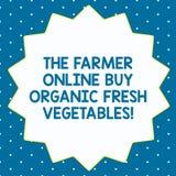 Ord som skriver text bonden Online Buy Organic nya grönsaker Affärsidé för sund mat fjorton pekade 14 för köp royaltyfria bilder