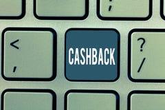 Ord som skriver text Cashback Affärsidé för incitamentet som erbjuds till bestämda produkter för köpare, varigenom motta kassa royaltyfria bilder