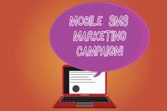 Ord som skriver text den mobila Sms marknadsföringsaktionen Affärsidé för annonsering av certifikatet för kommunikationsbefordran stock illustrationer