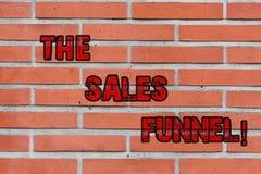 Ord som skriver text försäljningstratten Affärsidéen för ser till köpande processföretag leder kunder till och med tegelsten arkivbild