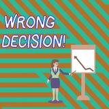 Ord som skriver text fel beslut Affärsidé för handling eller att föra att tillfoga skada utan förfallen provokation stock illustrationer
