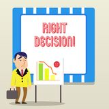 Ord som skriver text högert beslut Aff?rsid? f?r framst?llning av bra val, n?r att ha betraktat m?nga m?jligheter vektor illustrationer