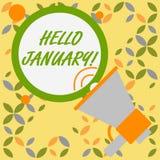 Ord som skriver text Hello Januari Aff?rsid? f?r h?lsa eller varm v?lkomnande till den f?rsta m?naden av ?ret stock illustrationer