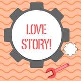 Ord som skriver text Love Story Affärsidé för roman om förhållande mellan stor analys för två demonstratings och stock illustrationer