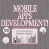 Ord som skriver text mobil Appsutveckling Affärsidé för process av att framkalla den mobila appen för digitala apparater stock illustrationer