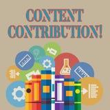 Ord som skriver text nöjt bidrag Affärsidé för bidrag av information till några digitala massmediaböcker vektor illustrationer