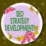 Ord som skriver text Seo Strategy Development Affärsidéen för process av att organisera en website s är nöjda utklipp av Sliced stock illustrationer