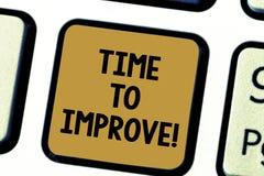 Ord som skriver text Tid för att förbättra Affärsidé för att berätta någon att framkalla sig hårt kurstangentbord för studie arkivfoton