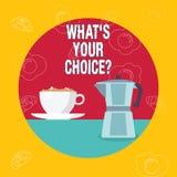 Ord som skriver text vad S din Choicequestion Affärsidé för föredragen åsiktpreferens för alternativ beslut vektor illustrationer