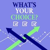 Ord som skriver text vad S din Choicequestion Affärsidé för föredragen åsiktpreferens för alternativ beslut royaltyfri illustrationer