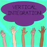 Ord som skriver text vertikal integration Affärsidé för sammanslagning av företag på olika etapper av produktion stock illustrationer