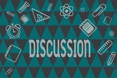 Ord som skriver textdiskussion Affärsidé för process av att tala om något för att som når ett beslut vektor illustrationer