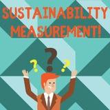 Ord som skriver texthållbarhetmätning Affärsidé för miljö- samkväm för mått och ekonomiska områden vektor illustrationer