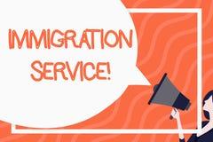 Ord som skriver textinvandringservice Aff?rsid? f?r ansvariga f?r lag ang?ende invandrare och invandring royaltyfri illustrationer