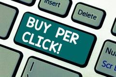 Ord som skriver textköpet per klick Affärsidé för att online-inhandla moderna teknologier för ecommerce ska shoppa tangentbordet royaltyfri foto