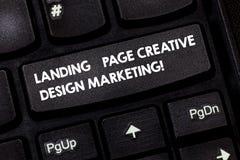 Ord som skriver textlandningsida idérik designmarknadsföring Affärsidé för Homepage som annonserar socialt massmedia arkivbild