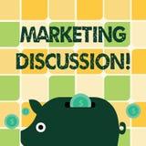 Ord som skriver textmarknadsföringsdiskussion Affärsidé för samtal av företaget som främjar den färgrika köpandet stock illustrationer
