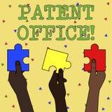Ord som skriver textpatentkontoret Aff?rsid? f?r ett kansli som g?r beslut om att ge patent vektor illustrationer