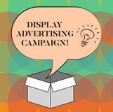 Ord som skriver textskärmreklamkampanjen Affärsidéen för framför ett kommersiellt meddelande genom att använda diagramidé vektor illustrationer
