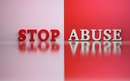 Ord stoppar missbruk i röda och vita färger royaltyfri illustrationer