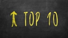 Ord topp 10 på den svarta svart tavlan Arkivfoton