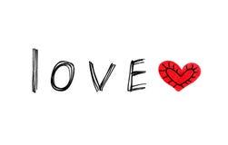 Ord & x27; & x27; Love& x27; & x27; med abstrakt hjärta på vit bakgrund Royaltyfri Bild