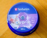 Ordagrann DVD-packeask som ses från över Fotografering för Bildbyråer