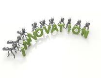 Ordbegrepp-svart för innovation 3d myror Arkivfoto