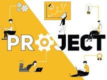 Ordbegreppsprojekt och folk som gör saker vektor illustrationer