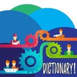 Ordbok för handskrifttexthandstil Begreppsbetydelse som lär en andra vocabs och synonymer från boken stock illustrationer