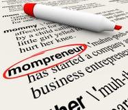 Ordbok för Mompreneur entreprenörMother Working Home affär stock illustrationer