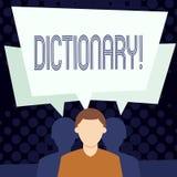 Ordbok för textteckenvisning Begreppsmässigt foto som lär en andra vocabs och synonymer från boken stock illustrationer