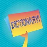 Ordbok för textteckenvisning Begreppsmässigt foto som lär en andra vocabs och synonymer från boken vektor illustrationer