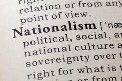 Ordbokdefinition av ordnationalismen royaltyfri bild