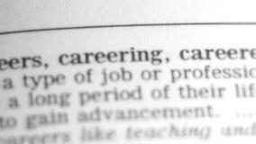 Ordbokdefinition - karriär. arkivfilmer