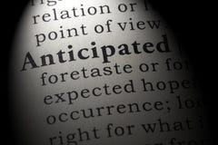 Ordbokdefinitionen av ordet förutsåg arkivbilder