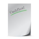 Ordcashflow som är skriftlig på en vitbok Royaltyfria Bilder
